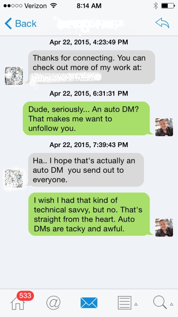 Twitter Auto-DMs are tacky and awful.